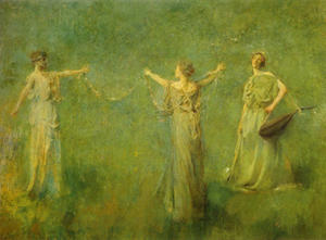 Thomas Wilmer Dewing (1851-1938), The Garland, 1899, huile sur toile, The Thyssen-Bornemisza Collection, Lugano.