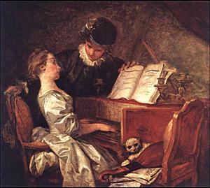 Jean-Honoré Fragonard (1732-1806), La leçon de musique, huile sur toile, 1769. Musée du Louvre.